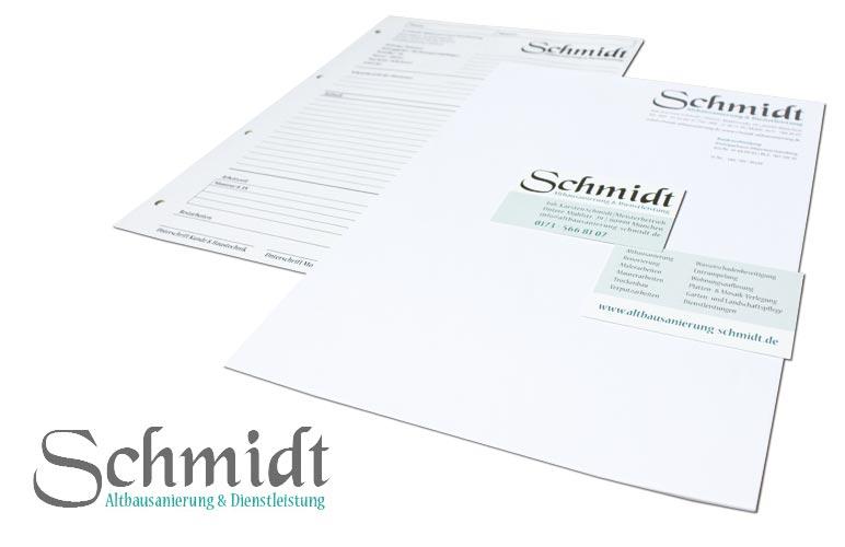 Geschäftsausstattung Altbausanierung: Logo, Visitenkarte, Briefpapier - Beispiel Altbausanierung Schmidt