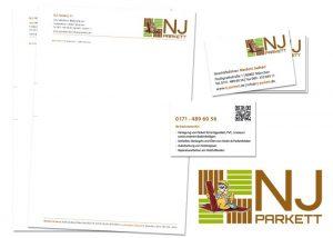 Logo Visitenkarte Briefbogen NJ Parkett
